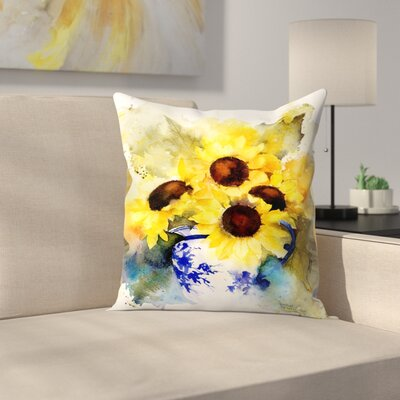 Sunflowers in Blue and White Vase Throw Pillow Size: 18 x 18