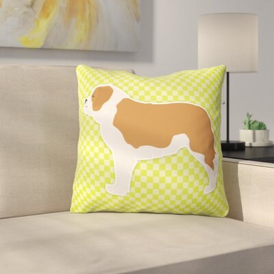 Saint Bernard Indoor/Outdoor Throw Pillow Size: 14 H x 14 W x 3 D, Color: Green