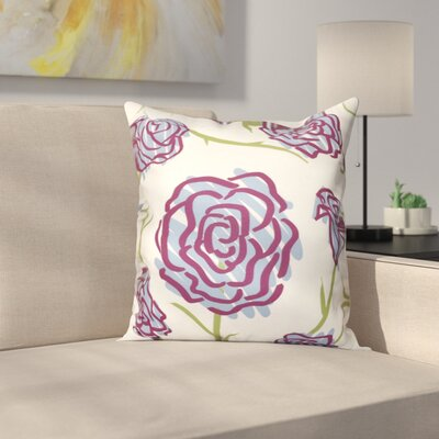 Cherry Spring Floral 1 Print Throw Pillow Size: 16 H x 16 W, Color: Blue
