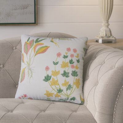 Ponton Floral Cotton Throw Pillow Color: Yellow