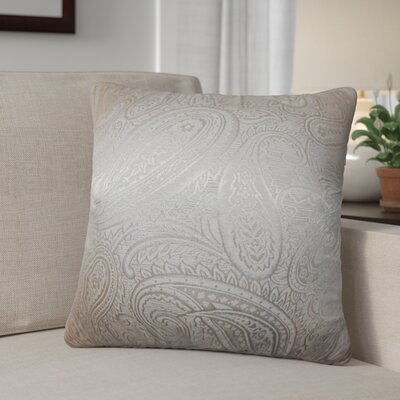 Digby Paisley Cotton Throw Pillow Color: Pewter