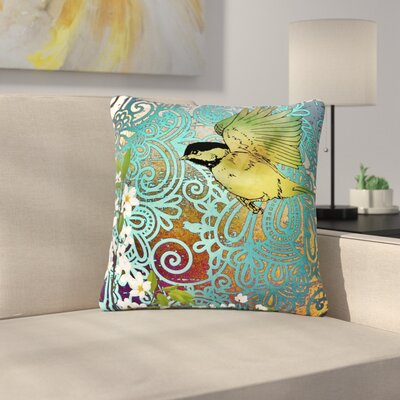 AlyZen Moonshadow Bird and Blossom Outdoor Throw Pillow Size: 18 H x 18 W x 5 D