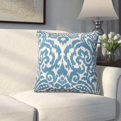Millington Ikat Cotton Throw Pillow Color: Aegean