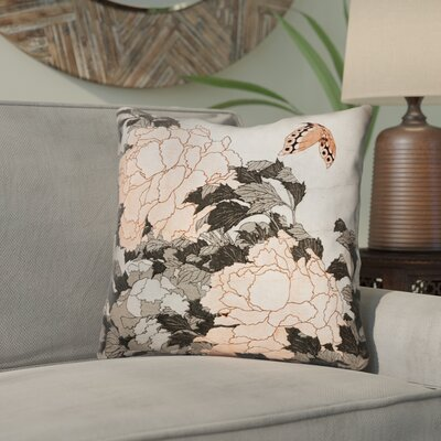 Clair Peonies with Butterfly Square Throw Pillow Color: Orange, Size: 18 x 18