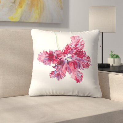 Black Parrot Tulip No 2 Throw Pillow Size: 14 x 14