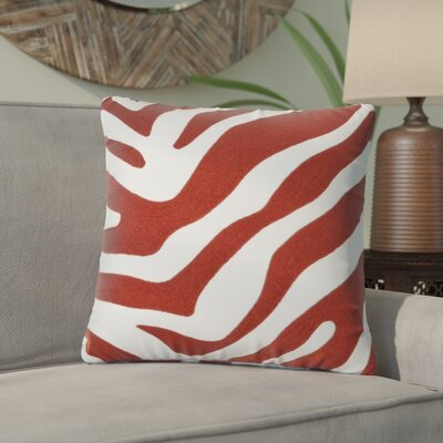 Zebra Design Pillow Cotton Throw Pillow Color: Brick