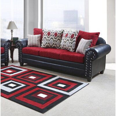 Nathans Sofa Color: Bravo Black/Home Run Red