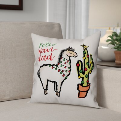 Feliz Navidad Llama Throw Pillow Type: Pillow Cover
