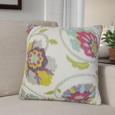 Aspendale Floral Cotton Throw Pillow Cover Color: Red Green