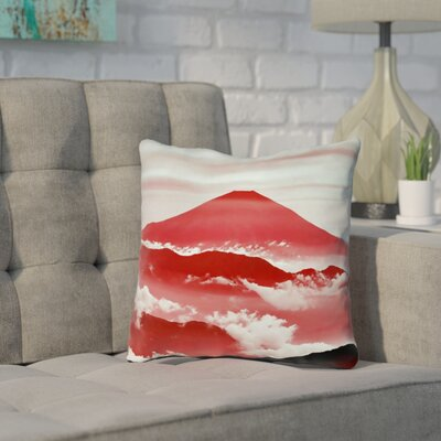 Enciso Fuji Pillow Cover Size: 16 H x 16 W, Color: Red
