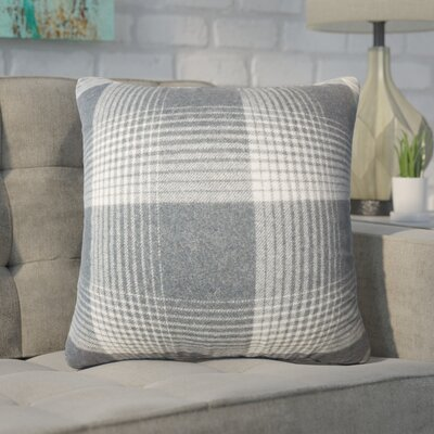 Wigginton Plaid Down Filled Velvet Throw Pillow Size: 18 x 18, Color: Charcoal
