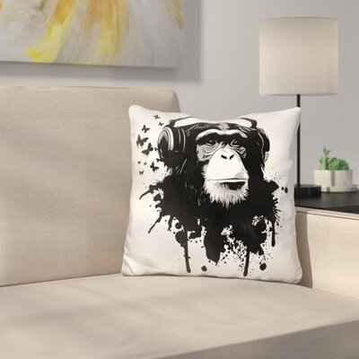 Monkey Business Throw Pillow Color: Black/White
