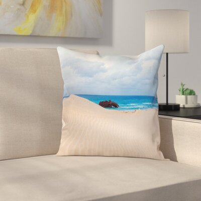 Beach Wreck Boat on the Coast Square Pillow Cover Size: 18