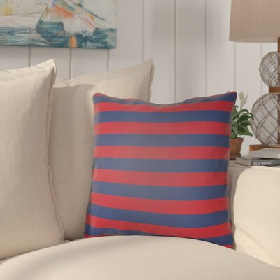Ghent Stripe Indoor/Outdoor Throw Pillow Size: 18 H x 18 W x 3.5 D, Color: Red