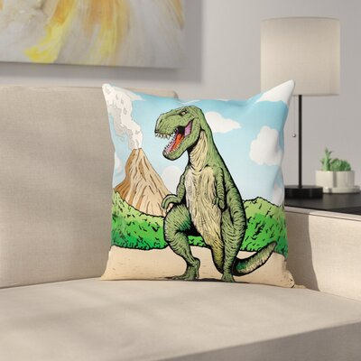 Dinosaur T-Rex Active Volcano Square Cushion Pillow Cover Size: 18 x 18