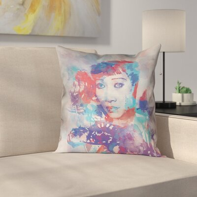 Watercolor Portrait Square Pillow Cover Size: 16 x 16