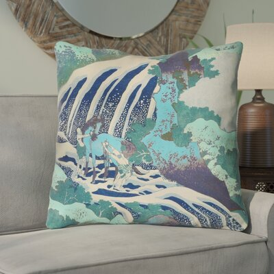 Channelle Horse and Waterfall Square Indoor Euro Pillow Color: Teal