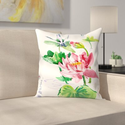 Dragonfly and Lotus Throw Pillow Size: 18 x 18