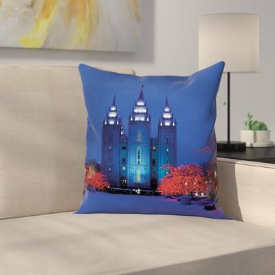 Castle in Winter Road Cushion Pillow Cover Size: 18 x 18