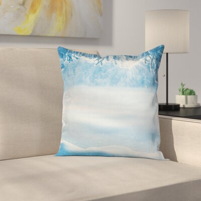 Snow Shiny Cold Winter Square Pillow Cover Size: 24 x 24