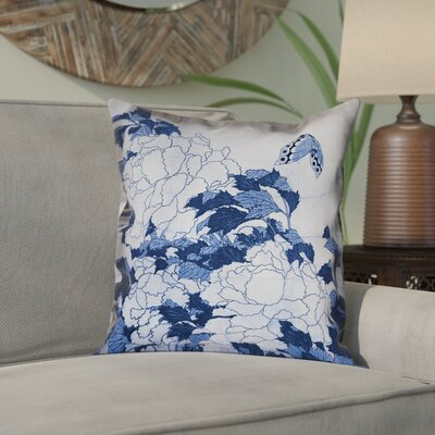 Clair Peonies and Butterfly Square Pillow Cover Size: 14 H x 14 W, Color: Blue