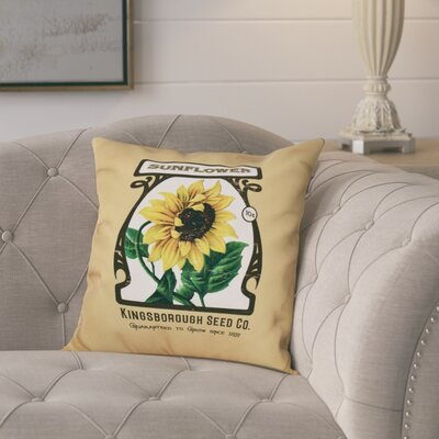 Swan Valley Sunflower Floral Print Throw Pillow Size: 20 H x 20 W, Color: Gold