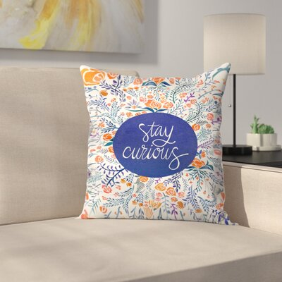Stay Curious Throw Pillow Color: Orange/Navy, Size: 18 x 18