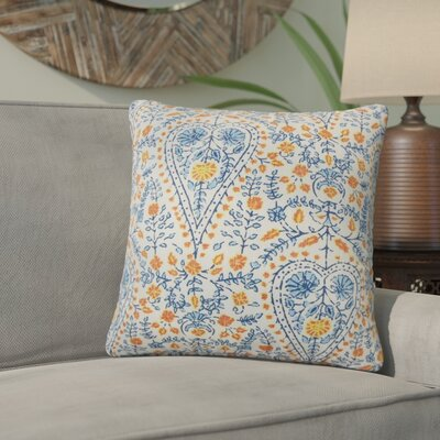 Willene Ikat Cotton Throw Pillow Color: Blue