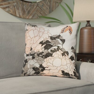 Clair Peonies with Butterfly Linen Throw Pillow Color: Orange, Size: 16 x 16