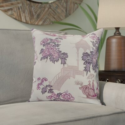 Hirst China Old Floral Print Indoor/Outdoor Throw Pillow Color: Purple, Size: 16 x 16