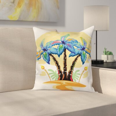 Tropical Cartoon Island Sunset Square Pillow Cover Size: 20 x 20