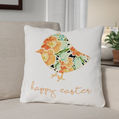 Floral Chick Throw Pillow Size: 18 H x 18 W x 3 D