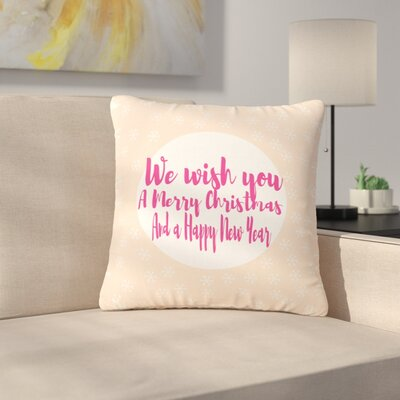 Suzanne Carter Merry Chistmas & Happy New Year Outdoor Throw Pillow Size: 16 H x 16 W x 5 D