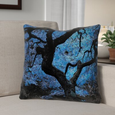 Ghost Train Japanese Maple Tree Zipper Throw Pillow Size: 14 H x 14 W