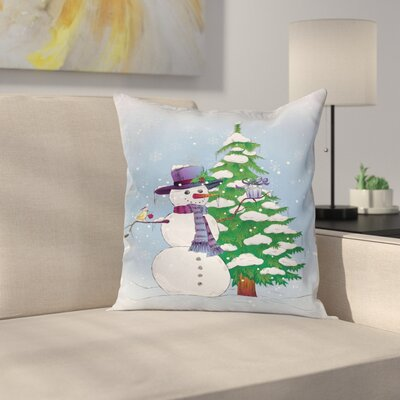 Christmas Snowman and Tree Square Pillow Cover Size: 18