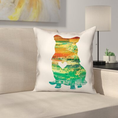 Nunlist Silhouette Corgi Throw Pillow in , Throw Pillow Color: Green/Orange/Yellow, Size: 20 x 20