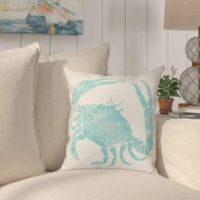 Boubacar Crab Throw Pillow Size: 18 H x 18 W, Color: Aqua