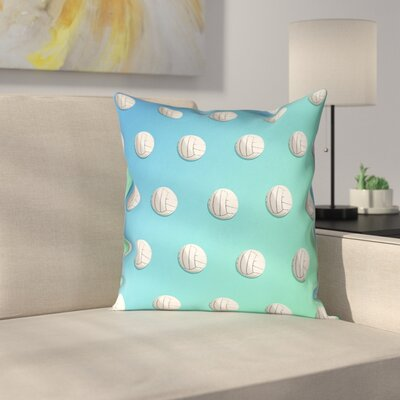 Volleyball Linen Pillow Cover Size: 16 x 16, Color: Blue/Green