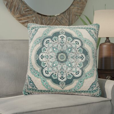Lowellville Scallop Sunrise Reversible 100% Cotton Throw Pillow Color: Teal