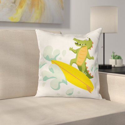 Cute Crocodile Square Cushion Pillow Cover Size: 24 x 24