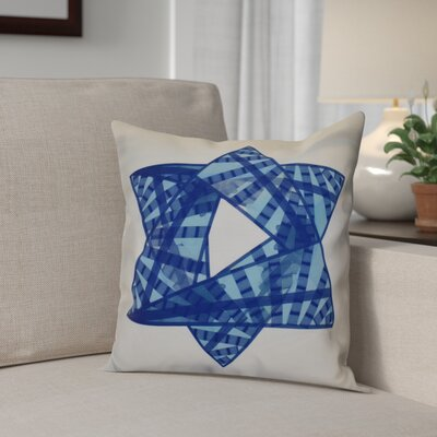 Hanukkah 2016 Decorative Holiday Geometric Outdoor Throw Pillow Size: 18 H x 18 W x 2 D, Color: Royal Blue