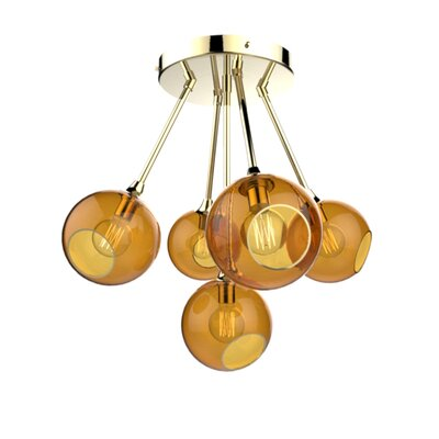 The Ballroom Molecule 8-Light Chandelier Finish: Gold, Shade Color: Amber