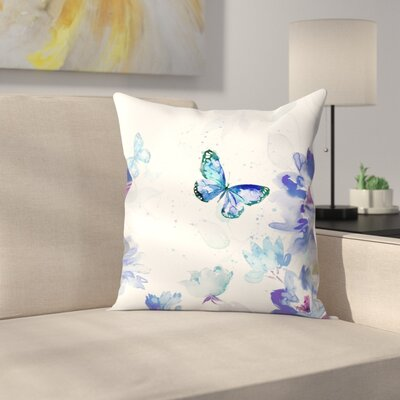 Butterflies in Blue Throw Pillow Size: 18 x 18