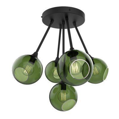 The Ballroom Molecule 8-Light Chandelier Finish: Black, Shade Color: Army Green