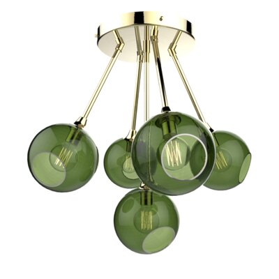 The Ballroom Molecule 8-Light Chandelier Finish: Gold, Shade Color: Army Green