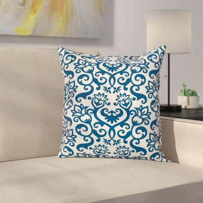 Floral Antique Damask Curvy Art Square Pillow Cover Size: 18 x 18