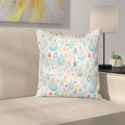 Kids Room Decor Funny Raindrop Square Pillow Cover Size: 24 x 24