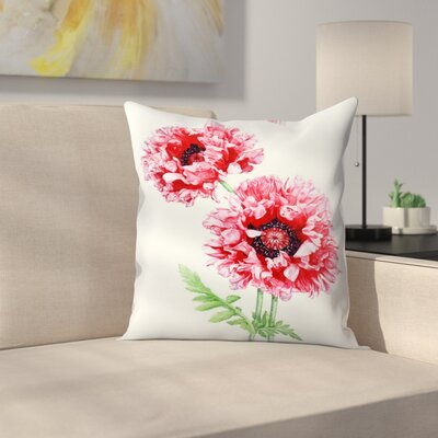 Pink Oriental Poppy Throw Pillow Size: 18 x 18