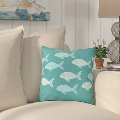 Golden Lakes Fish Line Throw Pillow Size: 18 H x 18 W, Color: Teal