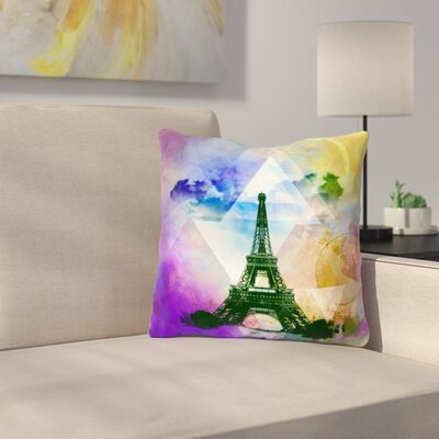 Eiffel Tower by Alyzen Moonshadow Throw Pillow Size: 16 x 16, Color: Purple